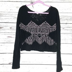 We The Free Cropped Black Top with Flare Sleeves